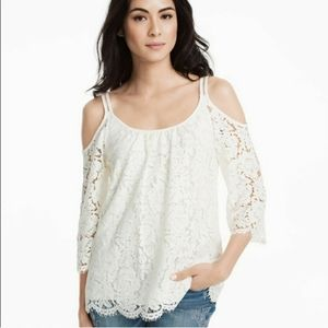Whbm lace cold shoulder top